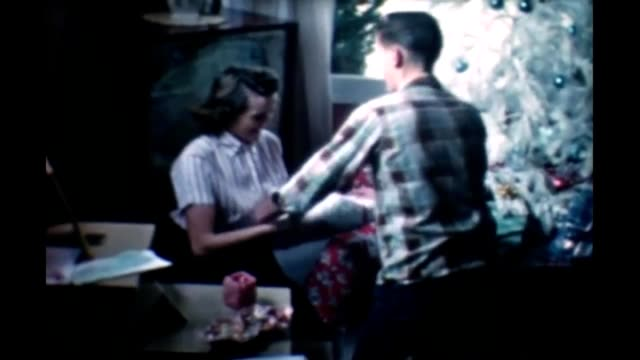1965 suburban family christmas - hair length stock videos and b-roll footage