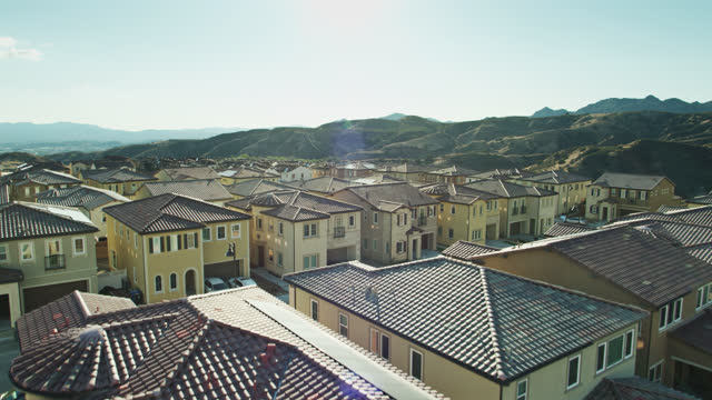 suburban homes in california - aerial - district stock videos & royalty-free footage