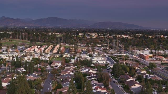 suburban houses in northridge, ca - aerial establisher - northridge stock videos & royalty-free footage