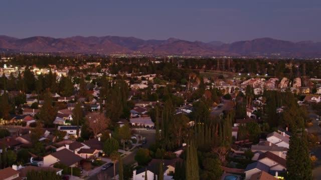 Suburban Houses in the San Fernando Valley- Aerial Establisher