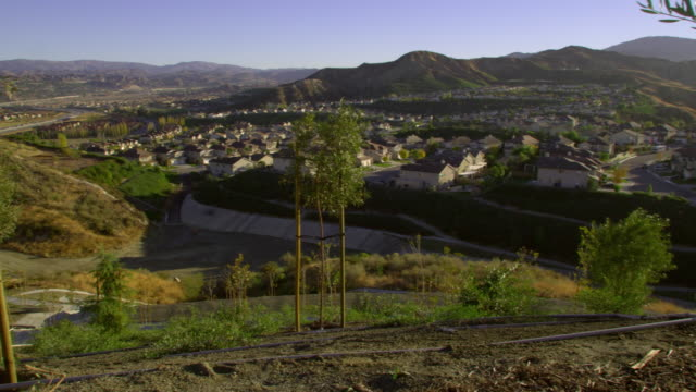 ws pan suburban landscape, palmdale, california, usa - palmdale stock videos and b-roll footage