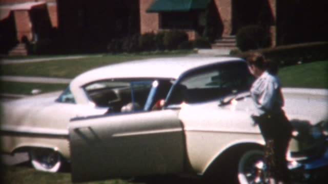 suburban life 1950's - collector's car stock videos and b-roll footage