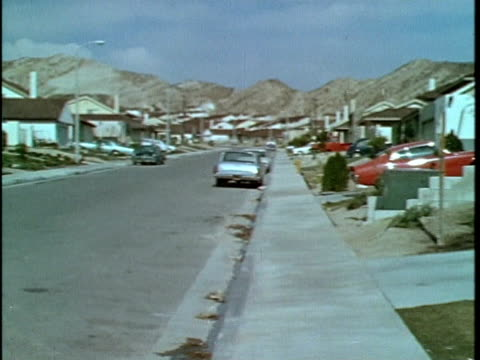 1970 ws pan suburban neighborhood, los angeles, california, usa, audio - 1970 stock videos & royalty-free footage