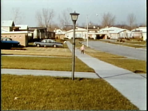 1963 montage suburban neighbourhood and shopping mall / chicago, united states / audio - chicago illinois stock videos & royalty-free footage