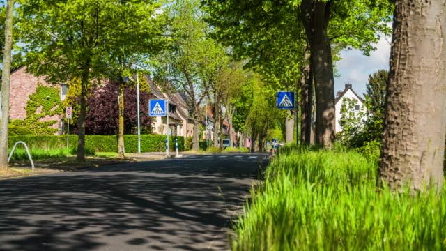CRANE SHOT: Suburban Road in Germany