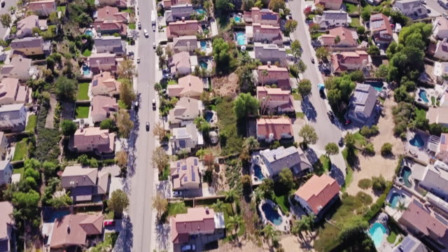 suburban streets - aerial view - santa clarita video stock e b–roll
