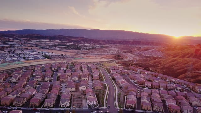 Suburban Sunset - Aerial View