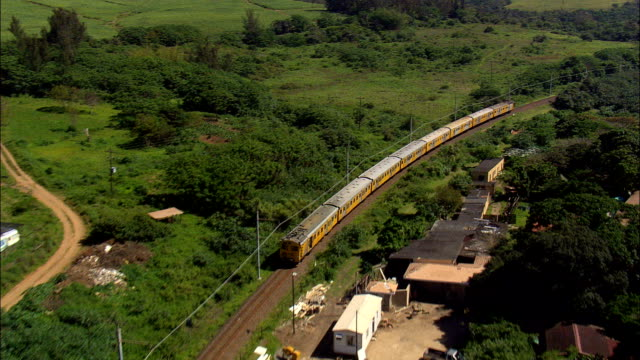 Suburban Train Out Of Kelso  - Aerial View - KwaZulu-Natal,  South Africa