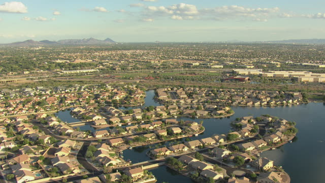 ws aerial suburbs in phoenix basin / phoenix, arizona, united states  - arizona stock videos & royalty-free footage