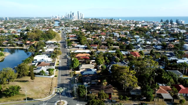 suburbs separated by canals. australian coastline - suburban stock videos and b-roll footage