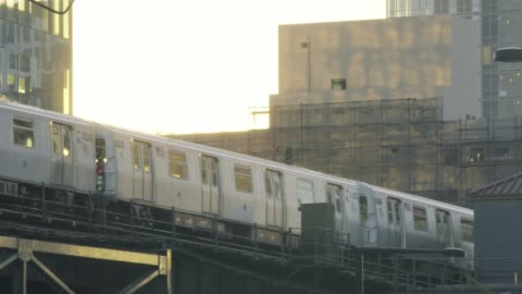 subway at sunset - elevated train stock videos & royalty-free footage