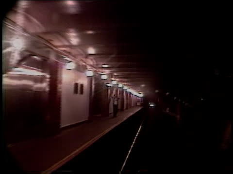subway car leaving 34th street subway station - 34th street stock videos & royalty-free footage