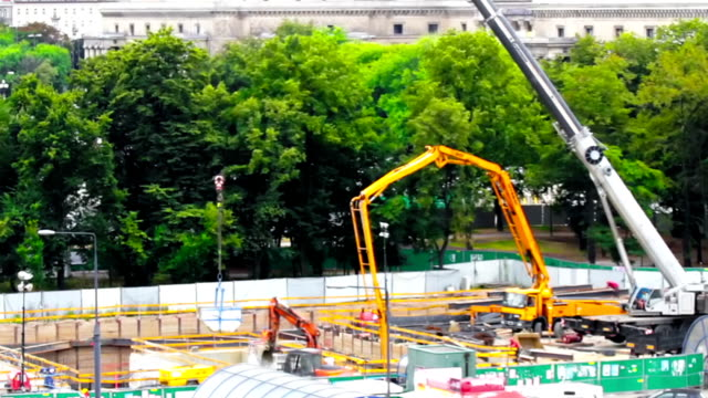 subway construction site - crane construction machinery stock videos & royalty-free footage