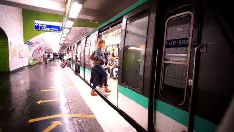 subway, metro in paris, france - subway train stock videos & royalty-free footage
