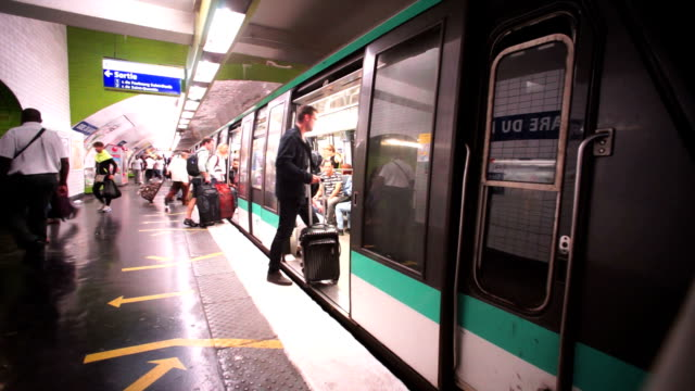 subway, metro in paris, france - underground train stock videos & royalty-free footage