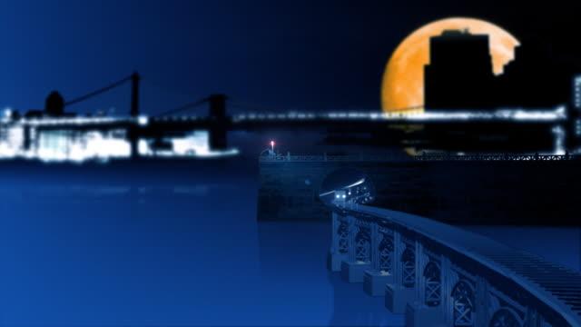 Metro la noche por el agua