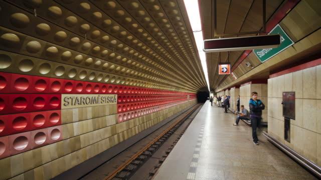 subway passengers board a train at the staromi siska station in prague. - prague stock videos & royalty-free footage