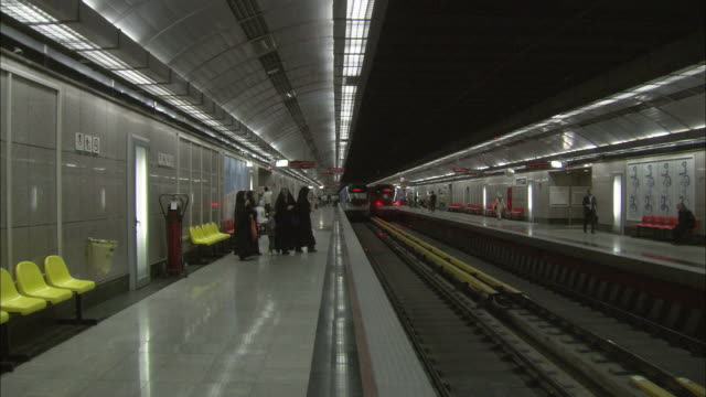 ws subway platform / teheran, iran - burka stock videos and b-roll footage