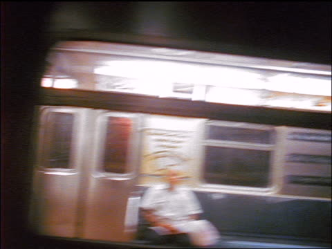 vidéos et rushes de canted subway point of view of passing train / nyc - dedans