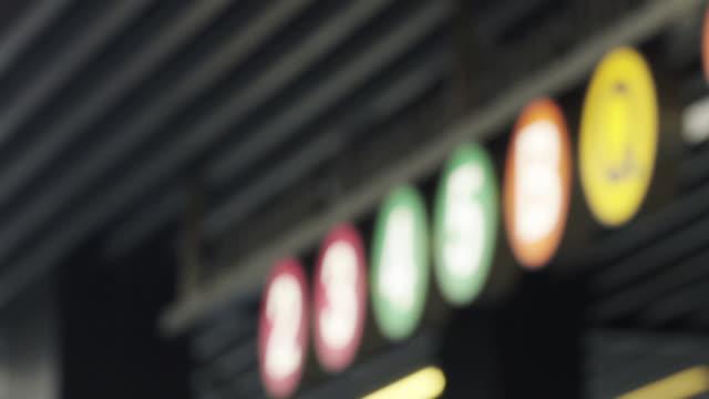 subway rack focus - dissolvenza in chiusura video stock e b–roll