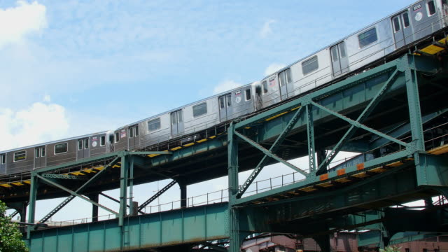 Subway runs on elevated railroad at Queens New York.