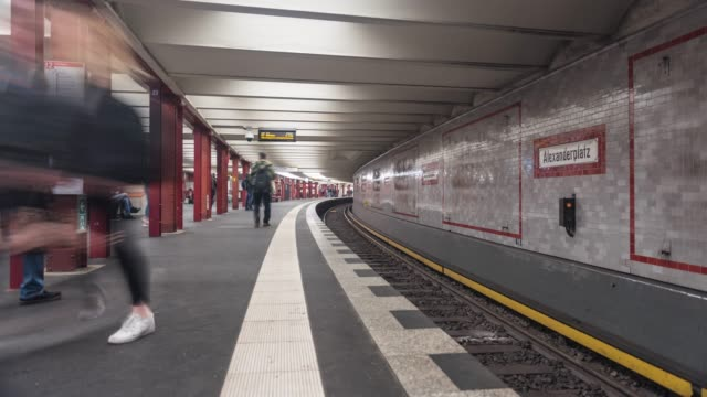 subway station alexanderplatz time lapse - alexanderplatz stock videos & royalty-free footage