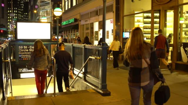 nyc subway station entrance - 59th street, columbus circle (night time) - scott mcpartland stock videos & royalty-free footage