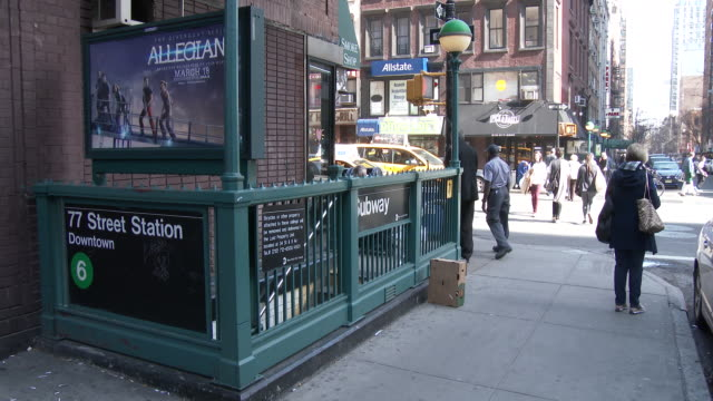 nyc subway station entrance - upper east side, manhattan - number 6 stock videos and b-roll footage