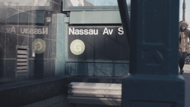nyc subway station entrance - greenpoint brooklyn stock videos & royalty-free footage