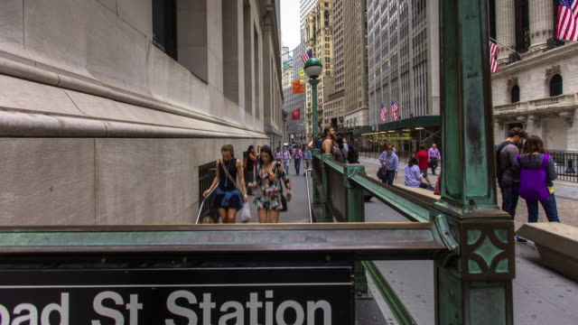 Subway Station Outside New York Stock Exchange - Timelapse