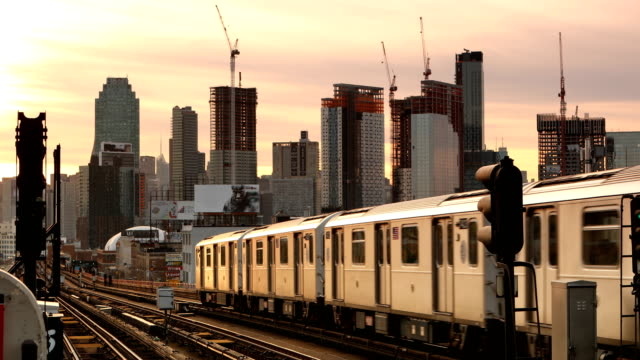 Subway Train and Construction Skyline
