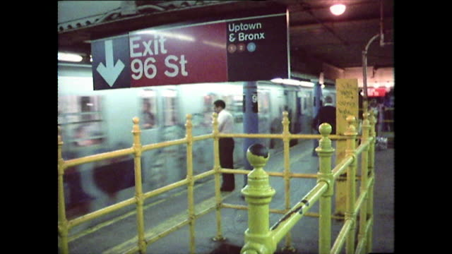 vídeos de stock e filmes b-roll de subway train arrives at the station and stops; 1976 - 1976