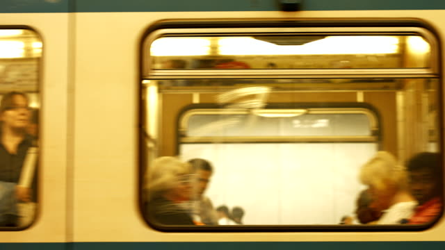 subway train departure (4k/uhd to hd) - moving past stock videos & royalty-free footage