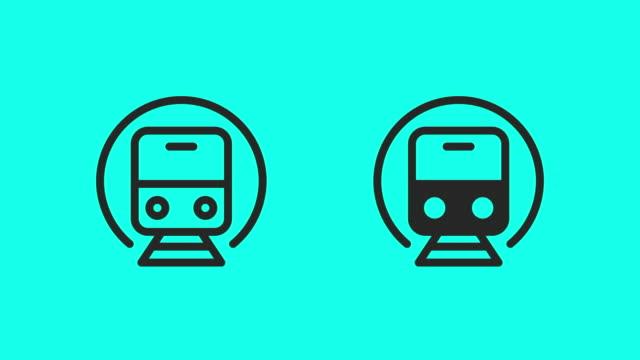 vídeos de stock, filmes e b-roll de ícones do trem do metro - vector animate - station
