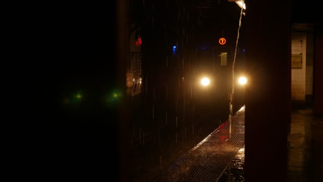 Subway train in a rainy day in New York City