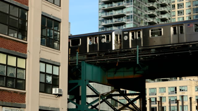 subway train in long island city - queens new york city stock videos & royalty-free footage