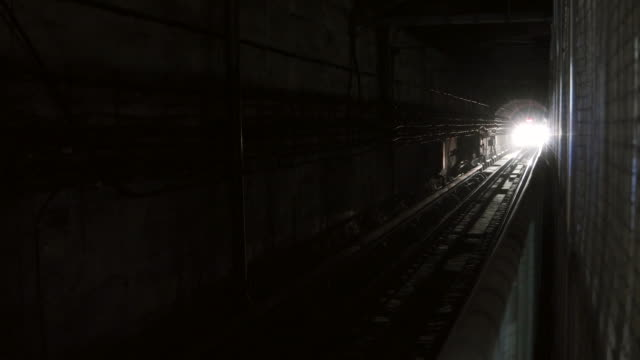 Subway Train In Tunnel Approaching Camera