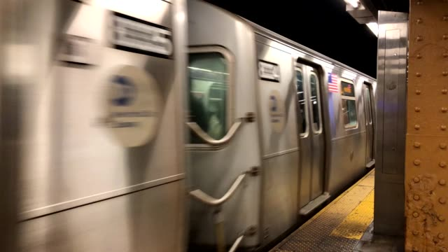 Subway train moving