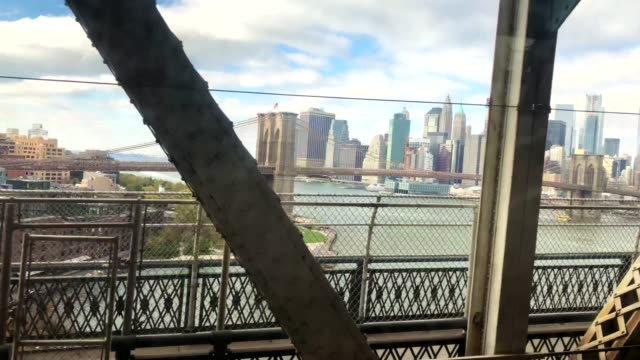 subway train on the bridge - zugperspektive stock-videos und b-roll-filmmaterial