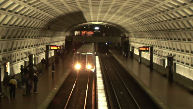 ws, ha, subway train pulling into station, dupont circle station, washington dc, washington, usa - dupont circle stock videos & royalty-free footage