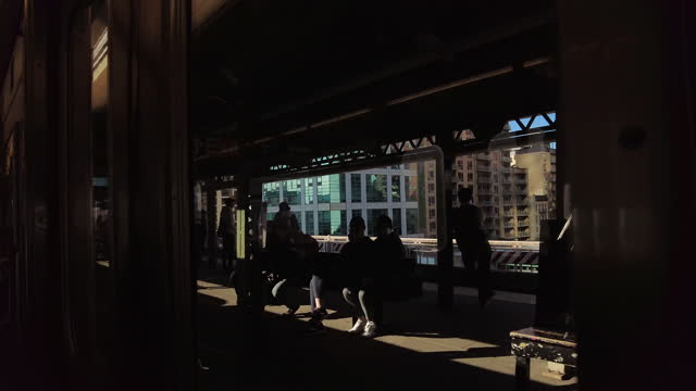 nyc mta subway train view of a train station with obscured people - abstract stock videos & royalty-free footage