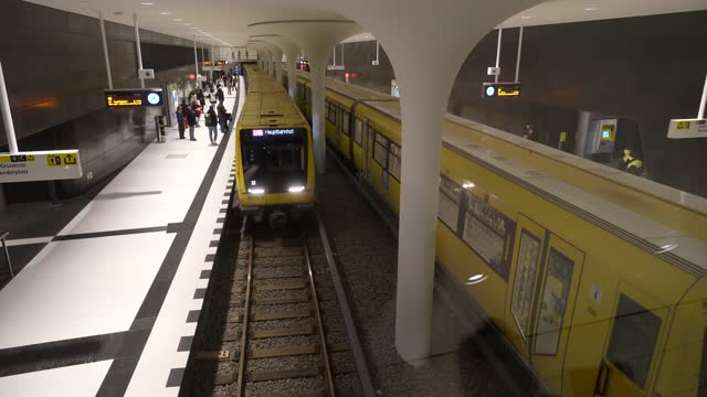 subway trains arrive and depart at rotes rathaus station on the new extension of the u5 line on the extension's opening day during the coronavirus... - rathaus 個影片檔及 b 捲影像