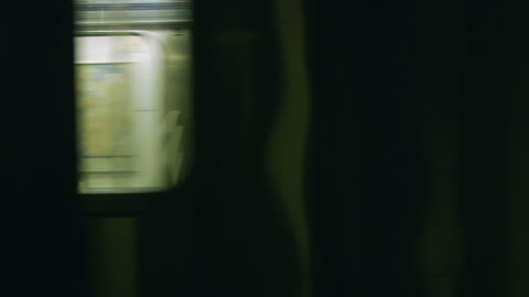slo mo ms pov subway trains passing near christopher street station / manhattan, new york, usa - subway train stock videos & royalty-free footage