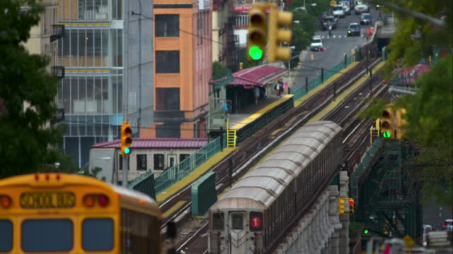 subway trains seen from broadway and 135 street in manhattan - upper west side manhattan stock videos and b-roll footage
