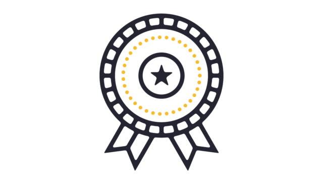 成功バッジ ライン アイコン アニメーション - 品質点の映像素材/bロール
