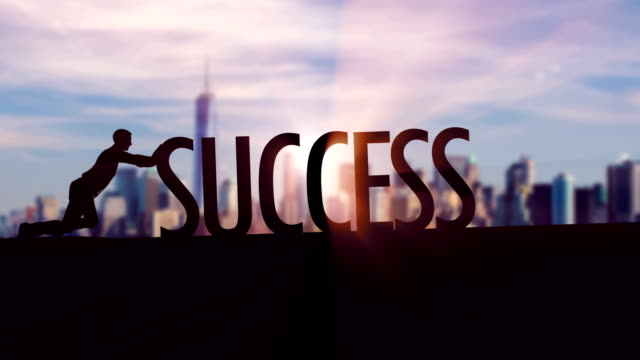 Success  - Businessman silhouette pushing thematic title