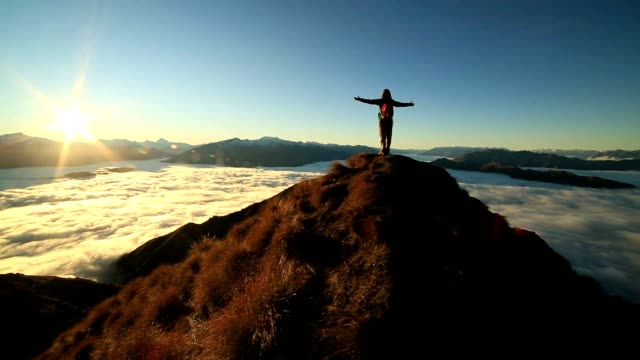success on mountain summit - climbing stock videos & royalty-free footage