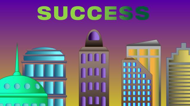 Erfolg Wort zerschmettert auf Stadtbild