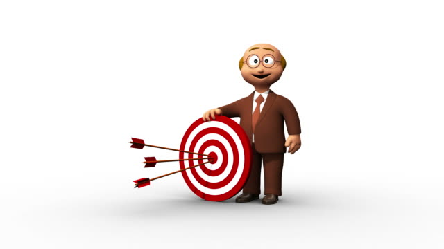 successful 3d senior business man and bullseye - bull's eye stock videos and b-roll footage