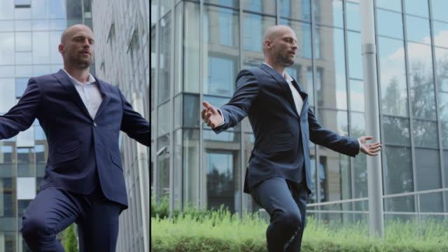 Successful businessman. Split screen